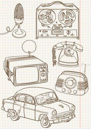 ringer: Doodle retro set Illustration