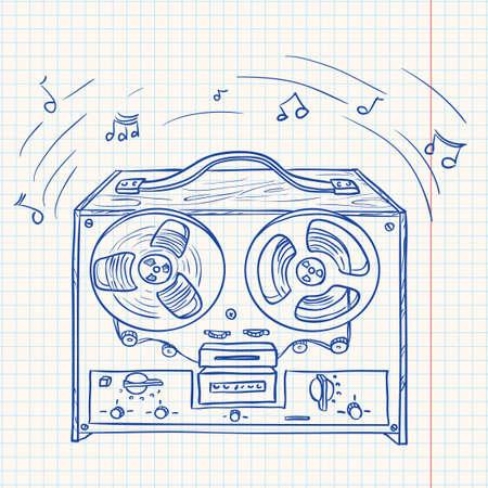 recorder: Retro Musical player (tape recorder) Illustration