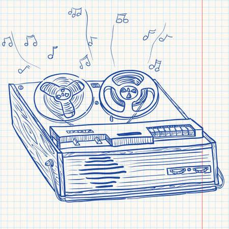 tape recorder: Retro Musical player (tape recorder) Illustration