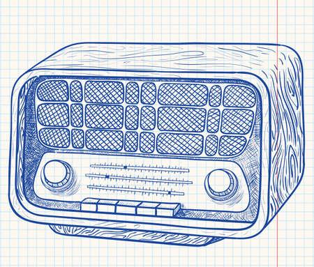 Retro wooden radio Vector