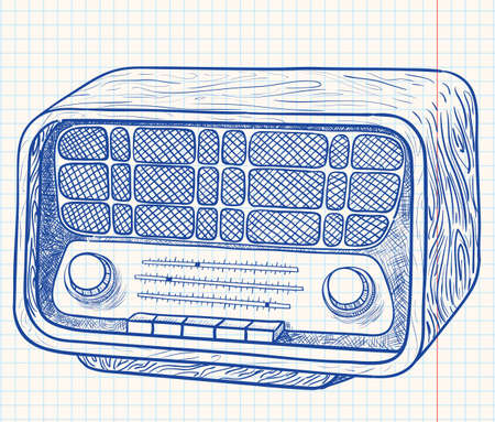 fm radio: Retro wooden radio