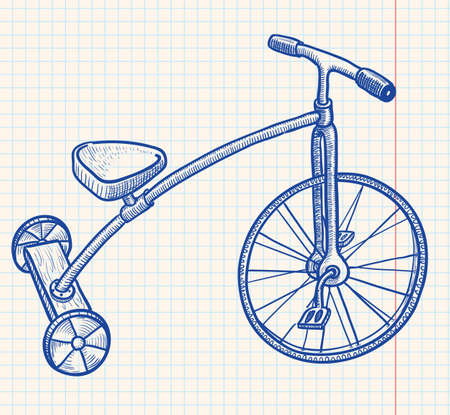 antique tricycle: Retro-styled kid tricycle Illustration