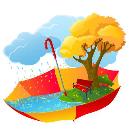 autumn park: Autumn icon with bench under the tree