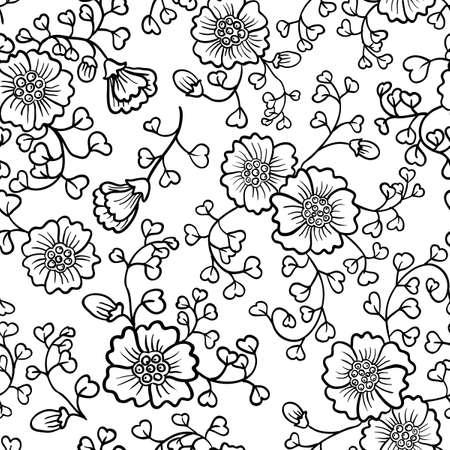 monocrom�tico: Floral abstrato sem emenda do doodle
