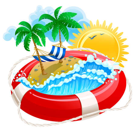 campamento de verano: Icono de verano con boya de vida