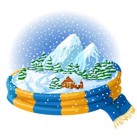 Icono de invierno con el paisaje, envuelto en una bufanda  Vectores