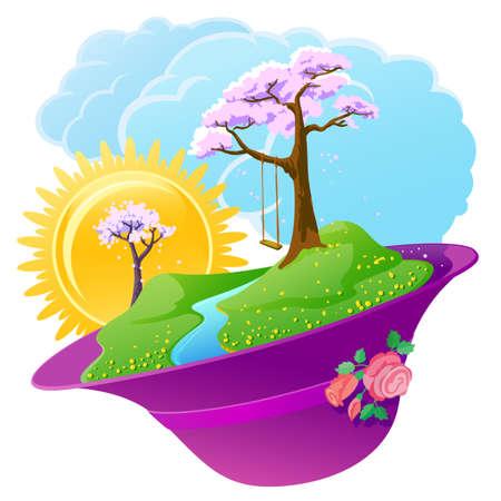 Icône de saison printemps avec les collines de fleur  Vecteurs