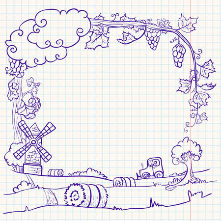 Autumn-summer doodle frame with farm Illustration