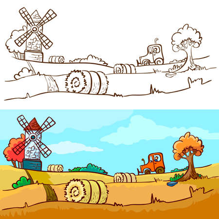 Autumn harvesting Vector