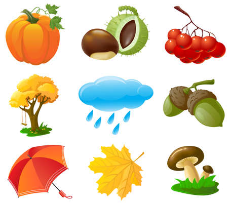 Autumn icons Stock Vector - 7504671