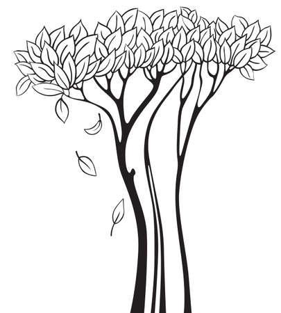 buisson: Doodle arbre silhouette