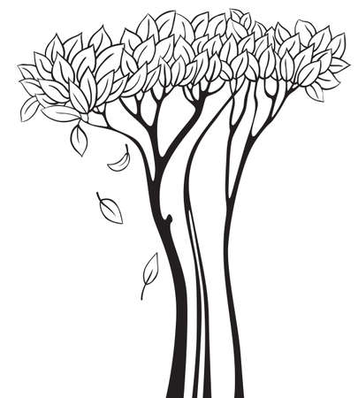 trunks: Doodle tree silhouette Illustration