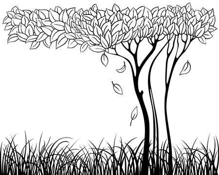 Silhouette of tree with grass Stock Vector - 7504670