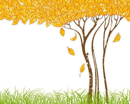 Grunge background with autumn tree Stock Vector - 7504672