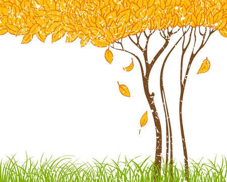 summer frame: Grunge background with autumn tree