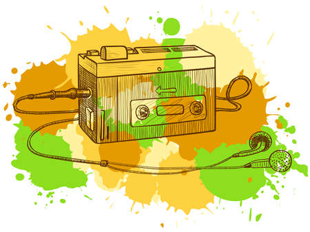 portable radio: Retro audio casete o grabadora de cinta  Vectores