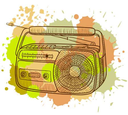 Grunge radio tape recorder Vector