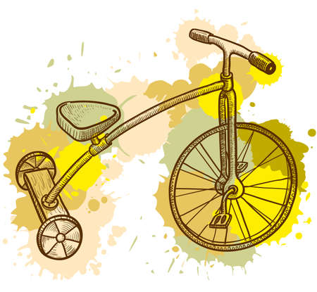 Retro-styled kid tricycle  Vector