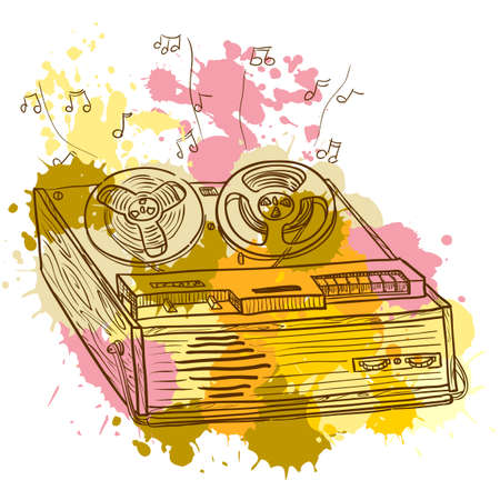 magnetofon: Grunge Retro Musical odtwarzacza (magnetofonu)