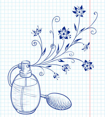 Bottle of perfume with a floral aroma Illustration