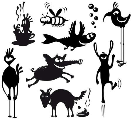 devil fish: Set with silhouettes of cute characters