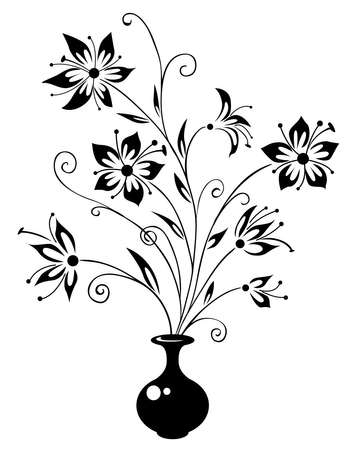 Silhouette of a vase with a bouquet of flowers