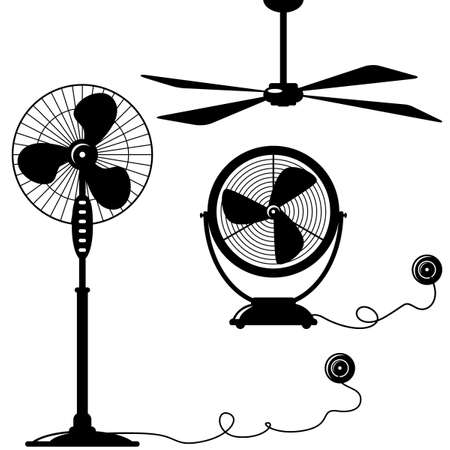 fan ceiling: silhouette of  ventilator (blower, cooler, blowhole) Illustration
