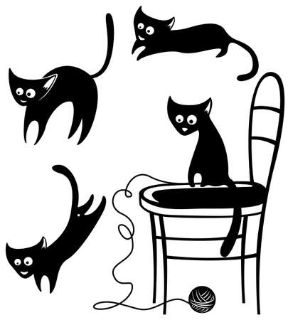 Collection of silhouettes of cats Stock Vector - 7601082