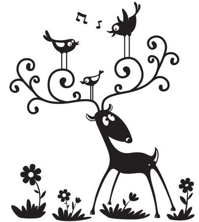 Silhouette of a deer with a bird on the horns Stock Vector - 7601088