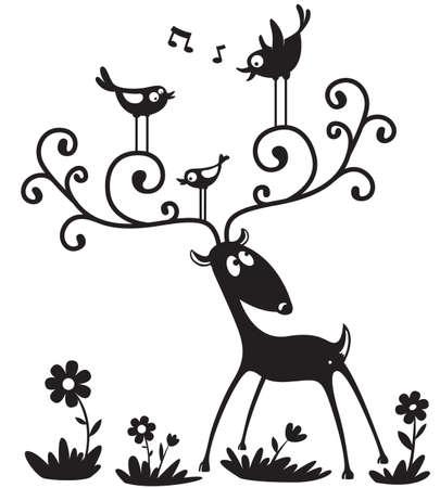 pajaro dibujo: Silueta de un ciervo con una especie de ave en los cuernos  Vectores