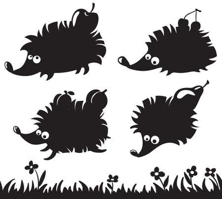 egel: Silhouetten van egels met fruit op de rug en gras simless