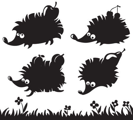 hedgehog: Silhouettes of hedgehogs with fruit on the back and grass simless Illustration