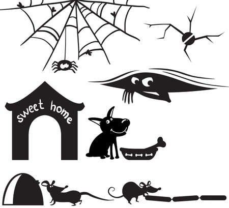 Cute silhouettes on the home theme Vector