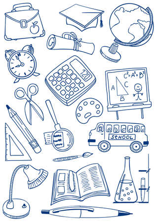 Collection of school (education) doodles Vector