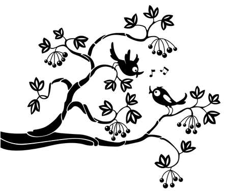 singing silhouette: Silhouettes of birds on a branch