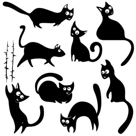 cat cartoon: Set with cute cats silhouettes