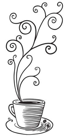 Coffe cup with curled steam Stock Vector - 7623430