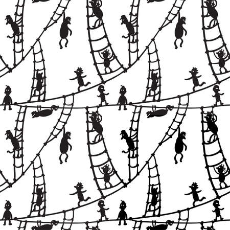 adversity: Seamless with little men on the stairs