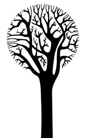 kale: Silhouet van boom met een ronde kroon