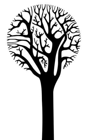 circular silhouette: Silhouette of tree with a round crown