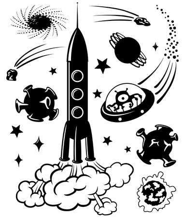 cohetes: Espacio cute siluetas, ilustraci�n  Vectores