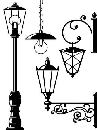 Silhouettes of retro lanterns (street lamps) Stock Vector - 7623434