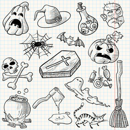 Set with halloween doodles, vector illustration Vector