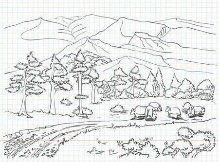 Esbozo de paisaje de dibujo