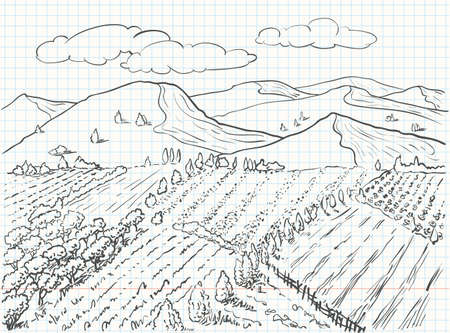 panoramic landscape: Landscape sketch drawing