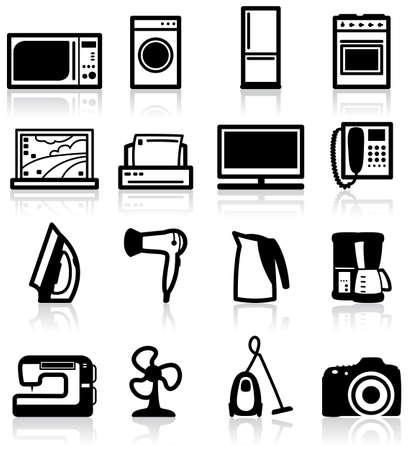 kettles: Conjunto de aparatos el�ctricos, iconos minimalistas