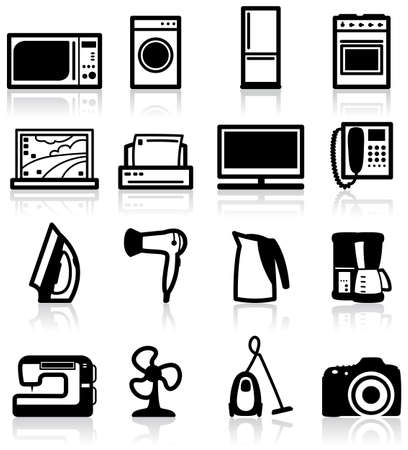 electric fan: Set of electrical appliances, minimalistic icons