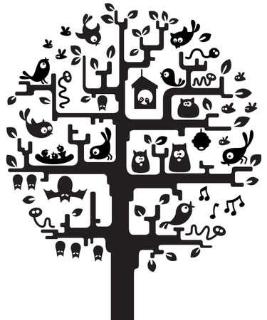 birds in tree: Silhouette di un albero stilizzato con abitanti  Vettoriali