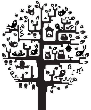 nestling birds: Silhouette of stylized tree with inhabitants Illustration