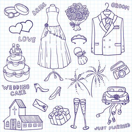 Ilustración de bosquejo de boda